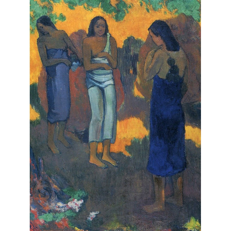 Παζλ - Three Tahitian Women Against a Yellow Background | Paul Gauguin