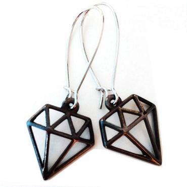 Χειροποίητα σκουλαρίκια μεταλλικό μοτίφ διαμάντι αξεσουάρ   μπιζού