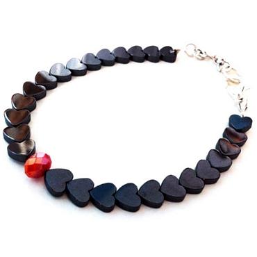 Χειροποίητο βραχιόλι από ημιπολύτιμες πέτρες αιματίτη σε σχήμα καρδιάς αξεσουάρ   μπιζού