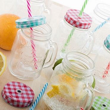 Σετ 6 ποτήρια - Βάζα με καπάκι και καλαμάκι είδη σπιτιού   είδη κουζίνας   κούπες   ποτήρια