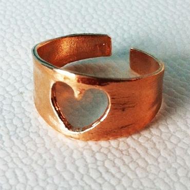 Χειροποίητο ορειχάλκινο σεβαλιέ δαχτυλίδι καρδιά αξεσουάρ   μπιζού