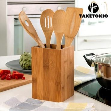 Βάση με 4 μαγειρικά σκεύη από μπαμπού είδη σπιτιού   είδη κουζίνας   αξεσουάρ κουζίνας