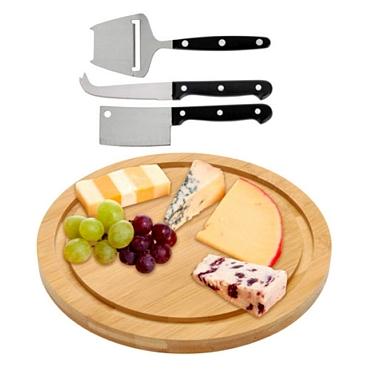 Μπαμπού δίσκος για τυριά με 3 μαχαίρια είδη σπιτιού   είδη κουζίνας   αξεσουάρ κουζίνας