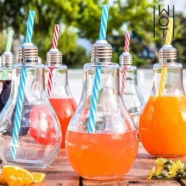 Σετ 6 ποτήρια - Ρετρό λάμπες με καλαμάκι είδη σπιτιού   είδη κουζίνας   κούπες   ποτήρια