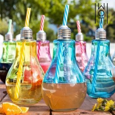 Σετ 6 χρωματιστά ποτήρια - Ρετρό λάμπες με καλαμάκι είδη σπιτιού   είδη κουζίνας   κούπες   ποτήρια