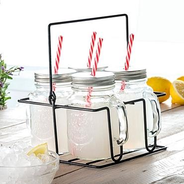 Σετ 4 ποτήρια - βάζα σε μεταλλικό καλάθι είδη σπιτιού   είδη κουζίνας   κούπες   ποτήρια