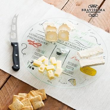 Περιστρεφόμενος γυάλινος δίσκος με μαχαίρι για τυριά είδη σπιτιού   είδη κουζίνας   αξεσουάρ κουζίνας