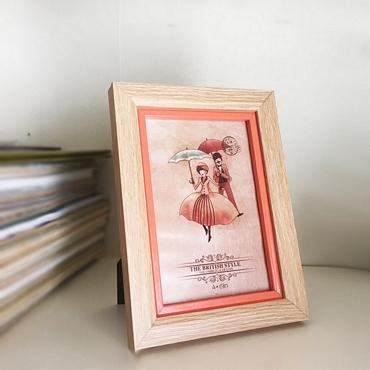 Ξύλινη κορνίζα με πορτοκαλί πλαίσιο - 10 x 15 εκ.