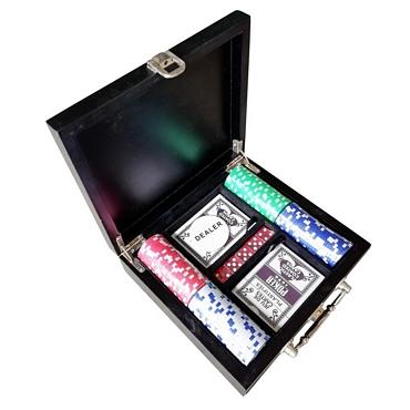 Ξύλινη βαλίτσα Πόκερ με 100 μάρκες και 2 τράπουλες
