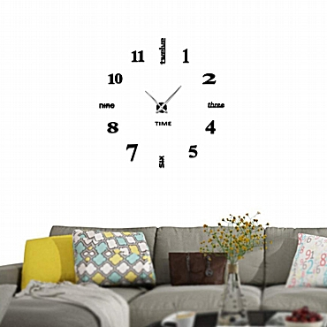 3D Μαύρο ρολόι τοίχου με αυτοκόλλητους αριθμούς και γράμματα - 60 εκ.