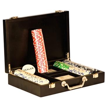 Ξύλινη βαλίτσα Πόκερ με 200 μάρκες και 2 τράπουλες