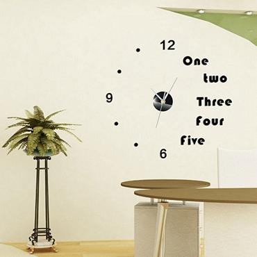 Ρολόι τοίχου με αυτοκόλλητους αριθμούς και γράμματα - Ασημένιοι δείκτες 16ebba0cf73