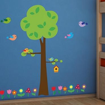 Αυτοκόλλητο τοίχου XL για παδικό δωμάτιο Tree With Flowers
