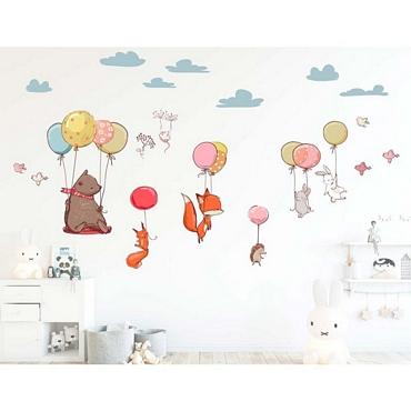 Αυτοκόλλητο τοίχου XL για παδικό δωμάτιο Flying Animals