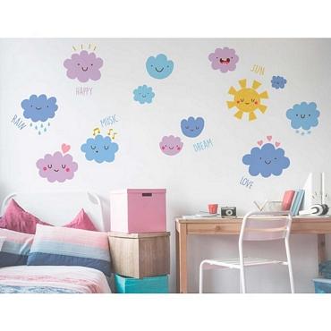 Αυτοκόλλητο τοίχου XL για παδικό δωμάτιο Happy Clouds