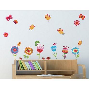 Αυτοκόλλητο τοίχου L για παδικό δωμάτιο Birds & Flowers