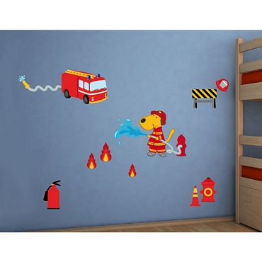 Αυτοκόλλητο τοίχου L για παδικό δωμάτιο Fireman