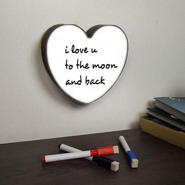 Πίνακας μηνυμάτων καρδιά με LED φωτισμό και 3 μαρκαδόρους - 15 εκ.