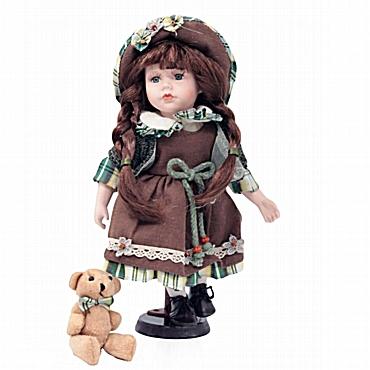 Πορσελάνινη κούκλα με αρκουδάκι