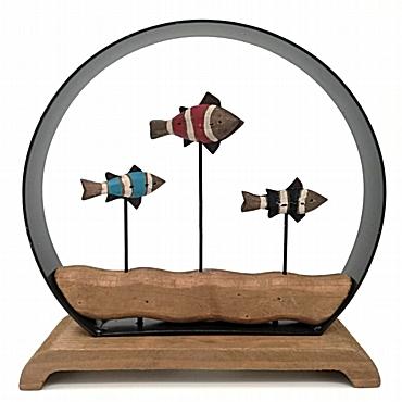 Ξύλινο διακοσμητικό ψάρια σε γυάλα 21 εκ.