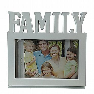 Λευκή επιτραπέζια κορνίζα Family 10 x 15 εκ.