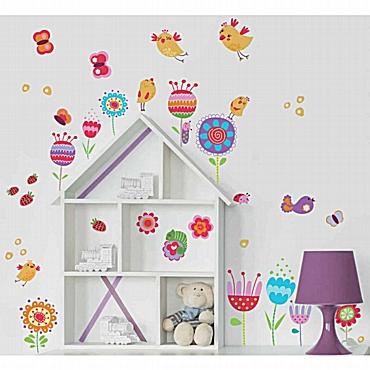 Birds and Flowers διπλής όψης αυτοκόλλητα για τζάμι ή τοίχο L