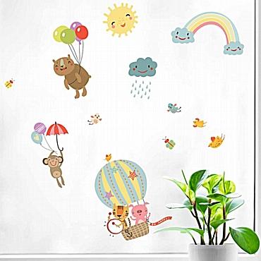 Rainbow Animals διπλής όψης αυτοκόλλητα για τζάμι ή τοίχο L
