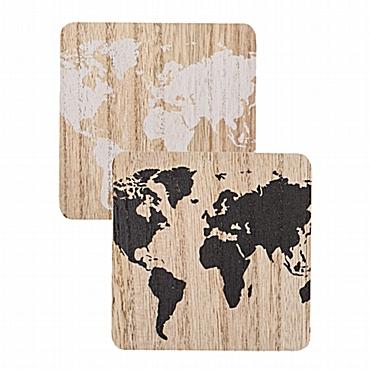 Σετ ξύλινα σουβέρ - Παγκόσμιος χάρτης 2 τεμ.
