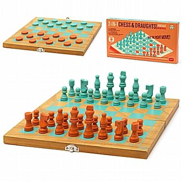 2 σε 1 ξύλινο σκάκι και ντάμα Legami