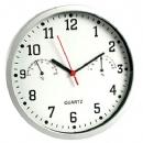 Ρολόι τοίχου με θερμόμετρο και υγρόμετρο | Ασημί